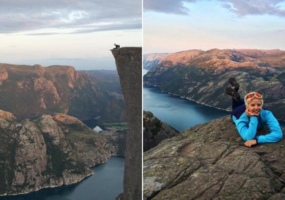 """""""Ismerem ezt a helyet Norvégia Stavanger, félelmetes 600 méterrel a víz fölött."""" - kommentelte valaki Szabó Zsófi bal oldali képét, míg más azt írta, nézni is szédítő."""