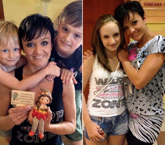 Gyerekei imádják édesanyjukat, a bal oldali képen a fiúk éppen születésnapi köszöntést tartanak. Az énekesnő hálás a szeretetért, ami körülveszi.