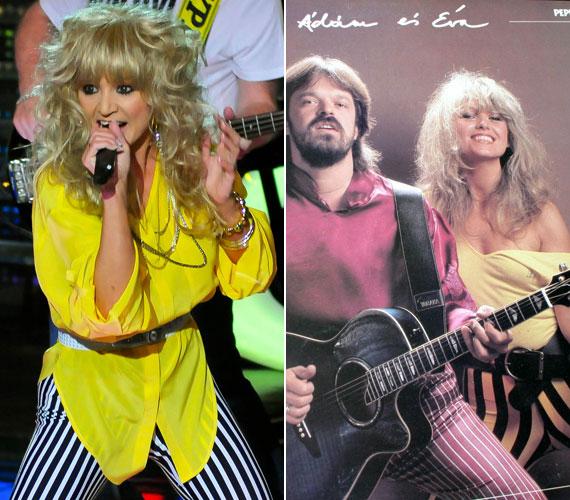 Hasonló ruhában lépett színpadra, mint amilyenben Csepregi Éva az Ádám és Éva lemez borítóján szerepelt évtizedekkel ezelőtt.
