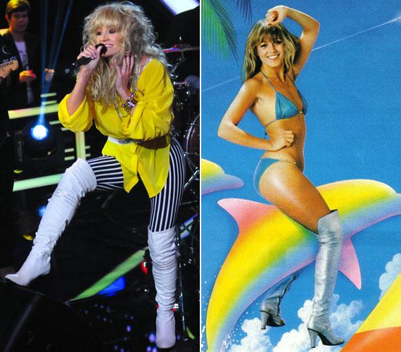 Nem maradt el a fehér combcsizma sem, amit a Neoton Família énekesnője még bikinihez is felhúzott egy évtizedekkel korábbi illusztráció kedvéért.