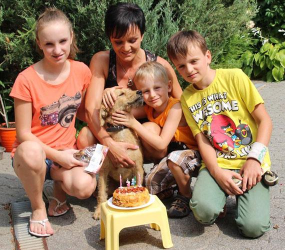 Szandiéknál a kutya is családtag: Maszatnak a negyedik születésnapjára Szandi egy kolbászos, darált húsos kutyatortát sütött.