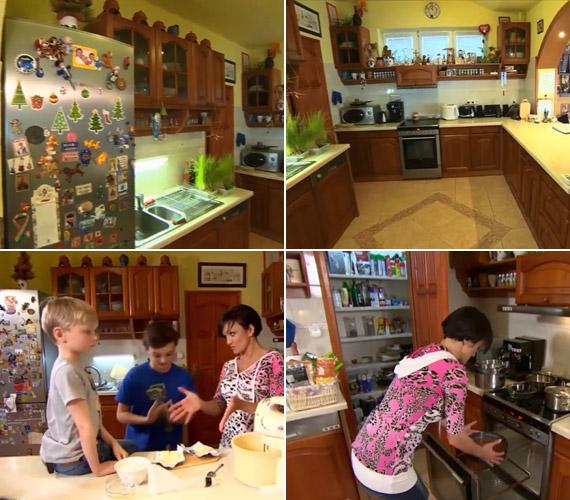 A tágas konyhában még a gyerekek is besegítettek a sütési előkészületekbe. A hűtőn található mágnesek mindegyike egy-egy utazásra emlékeztet, vagy barátoktól kapták ajándékba.
