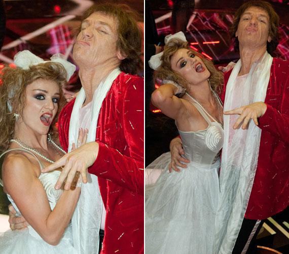 Két botrányhős: Madonna és Mick Jagger, a Rolling Stones énekese. Akik pedig a bőrükbe bújtak: Szandi és Bereczki Zoltán.