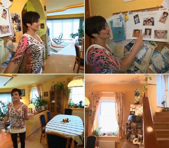 A lakásban sok fotó található az öttagú családról: már a bejáratnál is képek és a gyerekek oklevelei fogadják a vendégeket. Az étkezőből vezet a lépcső az emeleti hálószobákba, ebbe a magánszférába azonban Szandi nem engedett bepillantást.
