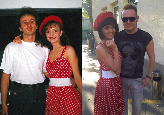 Szandi és Bogdán Csaba a kilencvenes évek elején, illetve az énekesnő a Sztárban Sztár próbái előtt 2013 októberében Heinz Gábor Bigával.