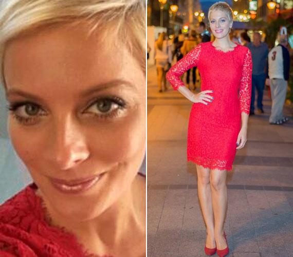 Tatár Csilla már javában készül a nagy bemutatkozásra az M1 műsorvezetőjeként. A hét elején egy fotózáson viselte ezt a csipkeruhát - a piros, mint mindig, most is remekül állt a szőke műsorvezetőnek.