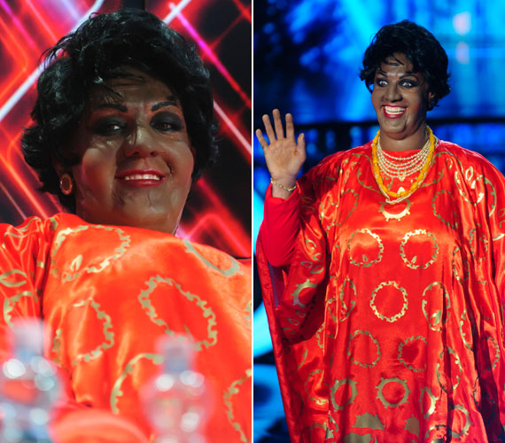 Bereczki Zoltán felismerhetetlen volt mint Aretha Franklin 16-szoros Grammy-díjas amerikai énekesnő.