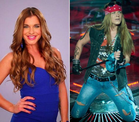 A Sztárban sztár első adásában a dögös énekesnő, Dér Heni volt az egyik versenyző, aki férfivá kellett, hogy váljon. Ő a Guns n' Roses zenekar énekesévé, Axl Rose-zá alakult át.