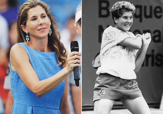 Szeles Mónika az isztambuli tenisztornán és 1991-ben, pályája csúcsán. A változás nem állt meg annyiban, hogy megnövesztette a haját.