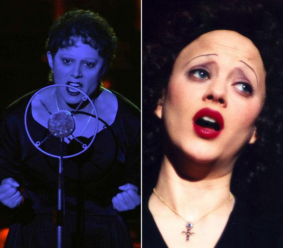 A magyar színésznő átváltoztatásához Marion Cotillard francia színésznőnek, a Piaf című filmben történt átalakulását is alapul vették - ez a két képet összevetve jól látható.