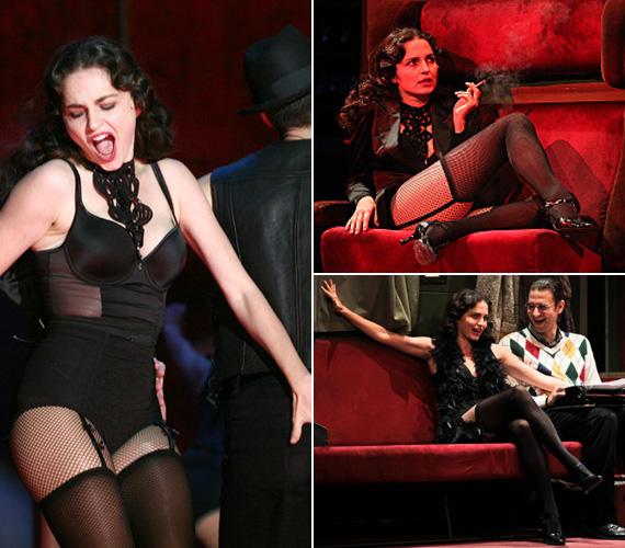 Marozsán Erika a Centrál Színház Cabaret című musicaljében az örök nőt, a kiismerhetetlen és ezerarcú, érzéki Sally Bowlest kelti életre, meglepően merész, nőiesen szexi jelmezekben