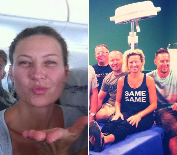 Így búcsúzott el Magyarországtól. Bal oldalon a repülőút új otthona felé, jobb oldalon pedig a Jóban Rosszban stábjával készített utolsó fotó.