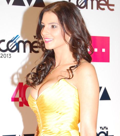 Sarka KataHajdú Péter műsorvezető felesége a 2013-as VIVA Cometen jelent meg egy igencsak szűknek tűnő miderben.