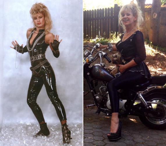 Bíró Ica dögös lakk és bőrszerkókkal Metal Lady néven vált ismertté - 57 évesen is bátran motorra pattanhat hasonló szerelésben.