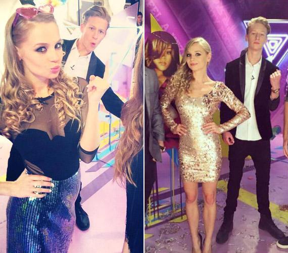 Iszak Eszti a VIVA TV óévet búcsúztató műsorában több szettben is látható volt.