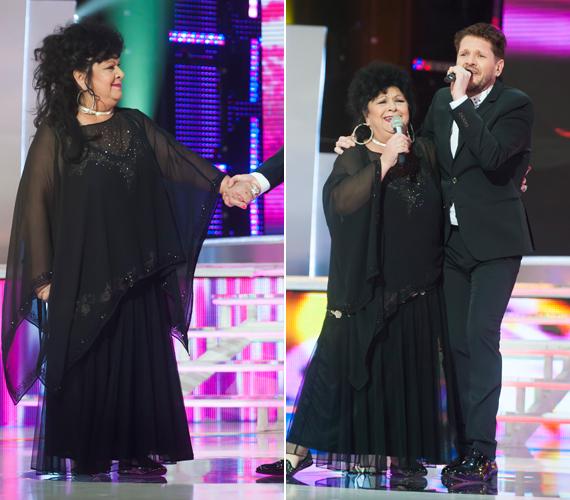 Bandó Margit egy gyönyörű átlátszós, fekete ruhába bújt.