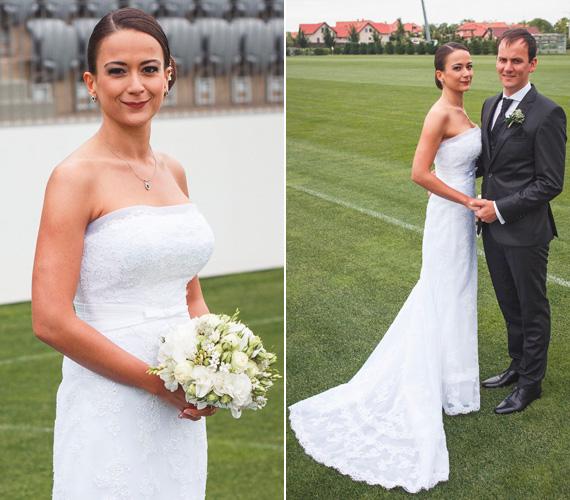 Takács Rita hófehér, csipke menyasszonyi ruhában mondta ki a boldogító igent Tömő Attilának.