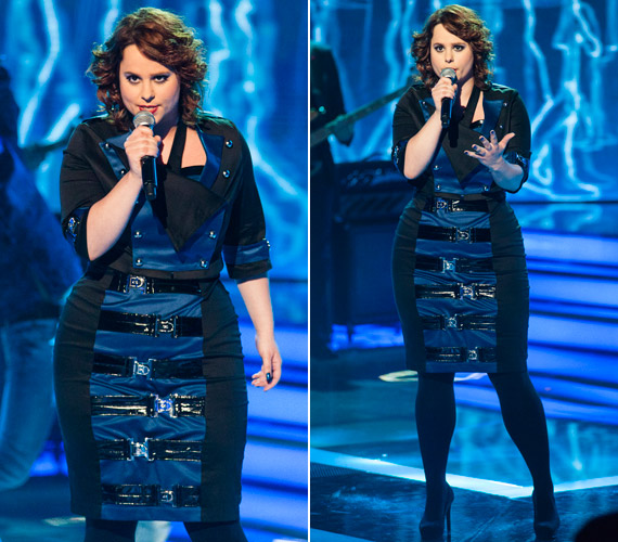 Tarján Zsófia telt idomain remekül állt ez a fekete, kék betéttel, övekkel és szögecsekkel megbolondított ruha.