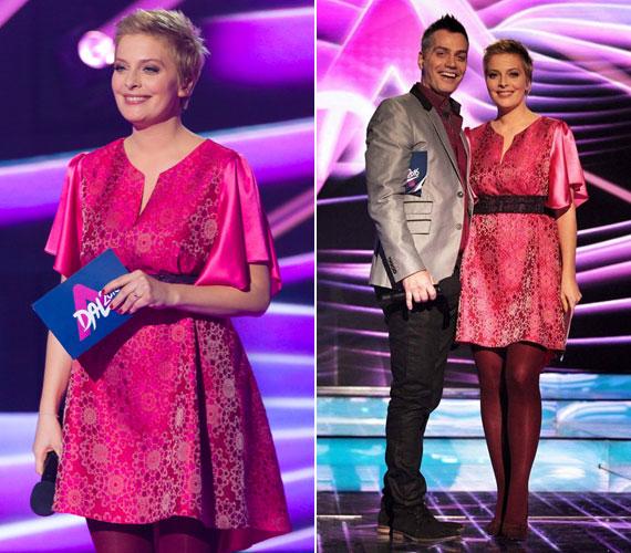 Tatár Csilla szombat este egy pink, rövid ruhában vezette Harsányi Levente oldalán A Dal 2016 első elődöntőjét.