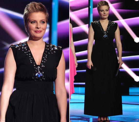 Az első elődöntőben stylistja egy hosszú, fekete darabot választott a műsorvezető számára, amelyet a Prieston tervezője, Nagy Noémi kreált. A klasszikus, kövekkel díszített ruhához Csilla vagány frizurát kapott.