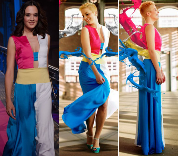 Egyszerű szabás, letisztult színek: egyszerre szexi és alkalmi a négy szín kombinációjából összeálló, földig érő ruha.