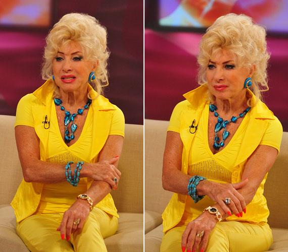 Medveczky Ilona is kedveli az élénk színeket: a TV2 reggeli műsorába sárga szerelésben érkezett, amihez kék ékszereket párosított.