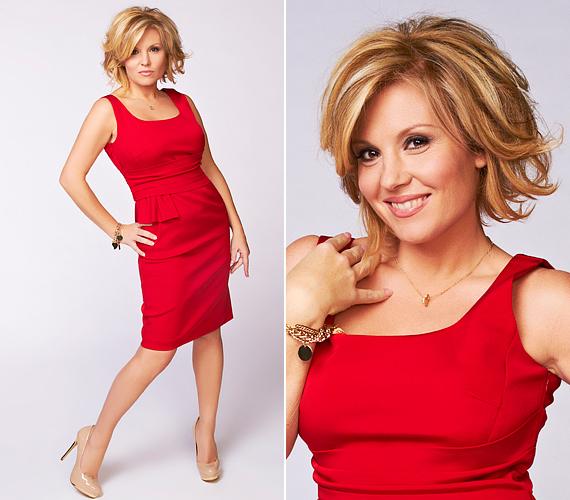 Liptai Claudia nőies idomait kihangsúlyozta ez a testhez simuló, vörös ruha.
