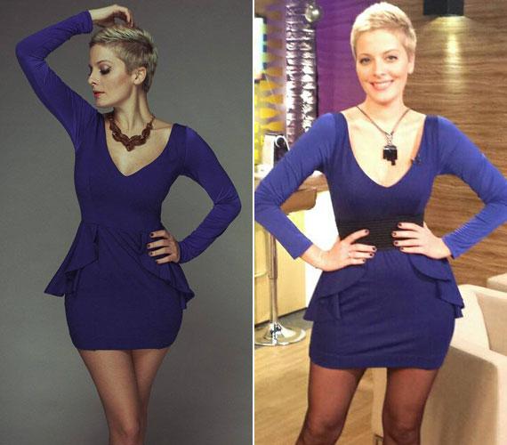 Ezt a kék, peplumos miniruhát október közepén láthatták rajta a nézők a TV2 reggeli műsorában.