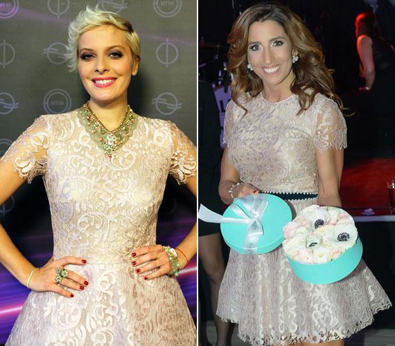 Tatár Csillát a 2015-ös dal című műsorban láthattuk Benes Anita, a Daalarna szalon tervezőjének egy ekrü csipkeruhájában, míg Rubint Réka decemberben, az Alakreform bálon ragyogott ugyanebben a kreációban.