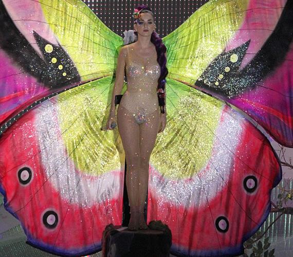Az utóbbi időben lila hajjal szereplő világsztár színes pillangónak öltözött a fellépésén, ehhez választotta a strasszokkal díszített, átlátszó kezeslábast.