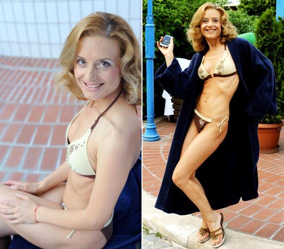 A 45 éves színésznő rendszeresen sportol, ami meg is látszik az alakján. Amikor 2009 júliusában a Timbilding című színdarab sajtótájékoztatóját rendhagyó módon a Gellért fürdőben tartották, bikiniben mutatta meg irigylésre méltó alakját.