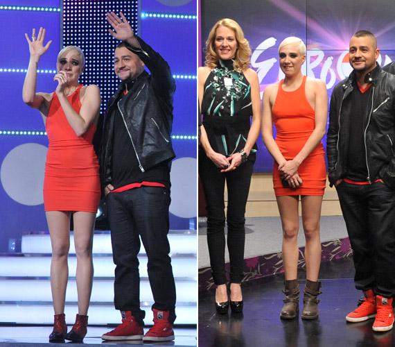 Nagy álma volt, hogy ő képviselhesse hazánkat a Bakuban rendezett Eurovíziós Dalfesztiválon. Az m1-en sugárzott első elődöntőben ebben a piros miniruhában mutatta meg karcsú alakját.