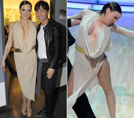 A Náray Tamás által tervezett nude színű, lenge ruha alá az énekesnő ha akart volna, sem tudott volna melltartót húzni. A köldökig kivágott darab nem sokat takart viselője bájaiból.