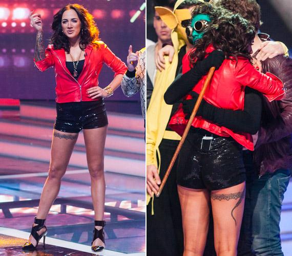 Az RTL Klubon az X-Faktorban sem mondott le a merész darabokról: a hatodik adásban egy, a maihoz hasonlóan rövid, fekete, flitteres sorttal vonta magára a figyelmet, ami éppen hogy takarta a fenekét.