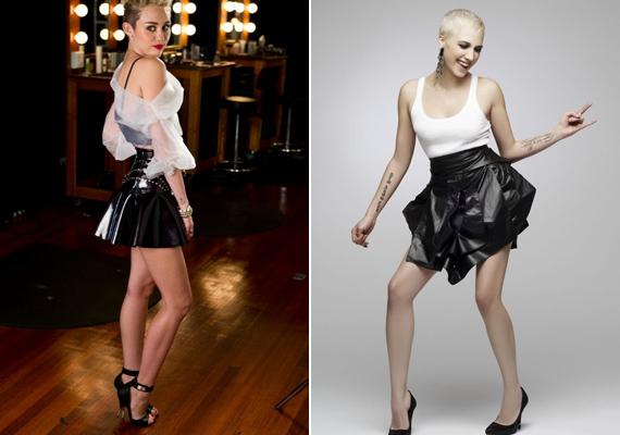 Egyszerre ártatlan és vadóc. Gabi és Miley is finom fehér csipkefelsőt húzott a rockos bőrszoknyához.