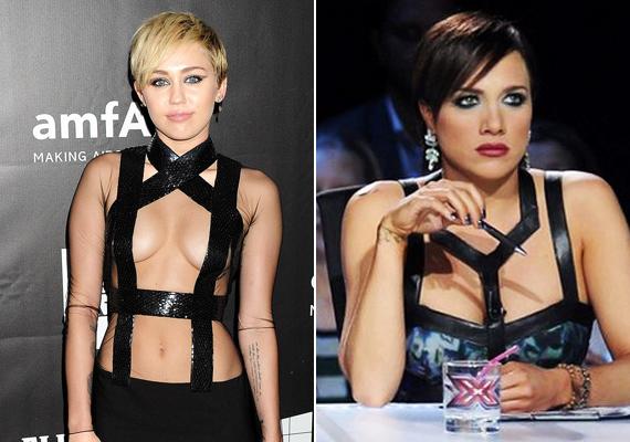 Nekik aztán van bátorságuk egy ilyen merész darabot felvenni! Gabi és Miley is igazán dögös ebben a bőrpántos, sokat mutató ruhadarabban.