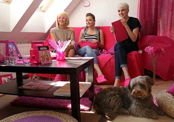 A lányok rózsaszín virágokkal, függönyökkel díszített pink partin nézték meg a Disney-mozit, ahol a filmnézés mellett természetesen csajos dolgokról is beszélgettek.