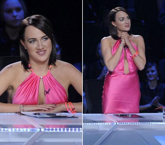A finálé hétvégéjének első, szombati napján viselt pink selyemkreációja is köldökig kivágott volt. A sminkjét néhány pöttyel tették különlegessé, mintha egy Star Trek-filmből lépett volna ki.