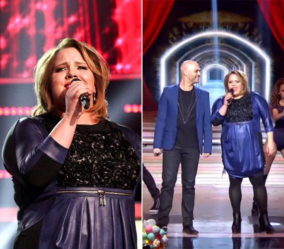 A lila-fekete kreáció, amelyben Tóth Vera a Rising sztár színpadán énekelte saját dalát Czibi Norbival.