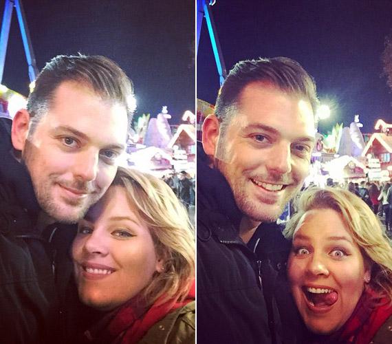 Tóth Vera és párja meghitt, összebújós, valamint vicces fotókat is készített a londoni adventi vásáron.