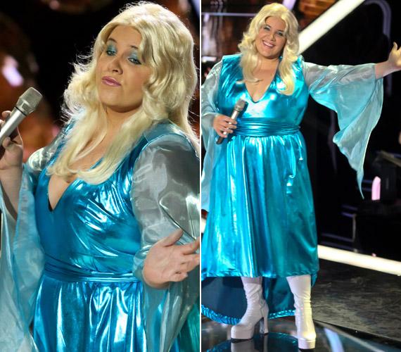 Agnetha Fältskognak, az ABBA szőke énekesnőjének öltözve - a nézők örültek, hogy a hétvégi adásban Tóth Vera nőies oldalát is láthatták.