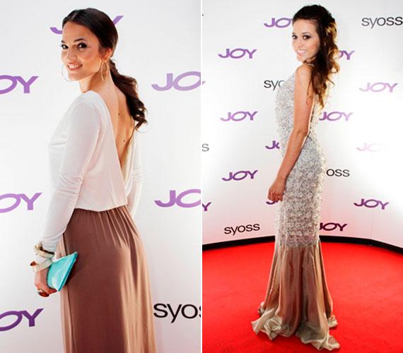 Debreczeni Zita modell és Nagy Adri énekesnő karcsú alakját kihangsúlyozó ruhában érkezett a Joy szülinapi partijára.