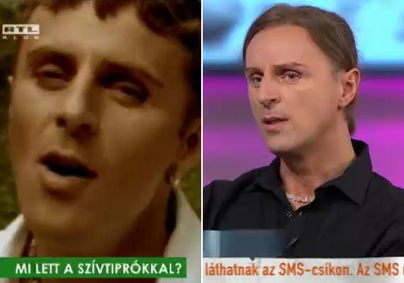 J.D. vagyis Csordás Levente a bal oldalon a Szeress akkor is, ha néha fáj című klipben látható, amit 1998-ban forgattak, a jobb oldali kép pedig a múlt heti Mokkában készült.
