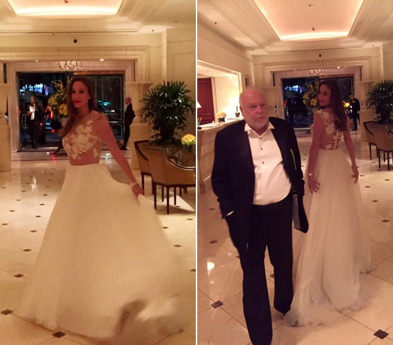 Hófehér menyasszonyi ruhában érkezett Vajna Timi az Oscar-gálára. Andy Vajna neje szereti külföldi eseményeken magyar tervezők ruháit viselni, így idén Benes Anita kreációját választotta.