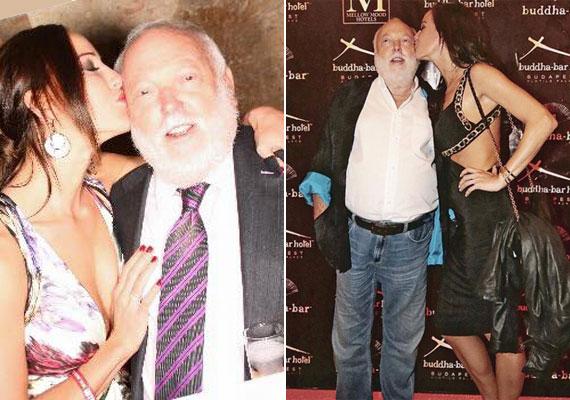 Vajna Timi a partikon a fotósok előtt is gyakran nyom egy cuppanós puszit férje arcára.