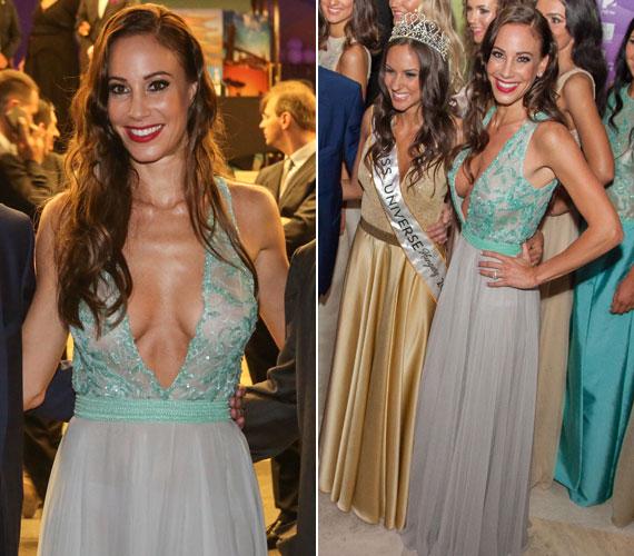 Andy Vajna feleségének idei legmerészebb ruhája a Miss Universe Hungary júniusi döntőjében viselt, köldökig kivágott Zoób Kati estélyi volt.