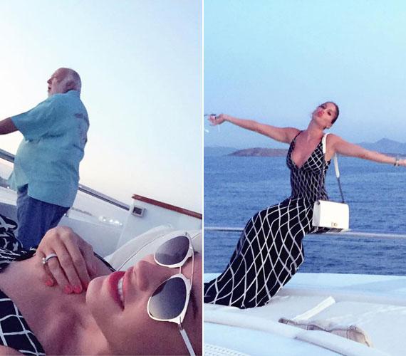 A mesés olasz sziget partja mentén Andy Vajnával egy luxusjachton pihennek. Tímea a lenge nyári ruhából is egy mélyen dekoltált darab mellett döntött.