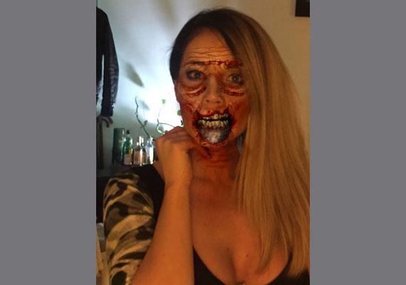 A legrémisztőbb smink képzeletbeli díja kétségkívül Baukó Éváé. Egy zombi és egy női terminátor egymásba oltva.