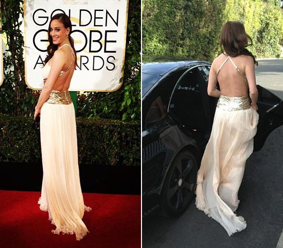 A 71. Golden Globe-díjátadón Vajna Timi kitűnt a sok sztár közül pompás ruhájával. Egy hátul mélyen kivágott, krémszínű, aranyozott estélyit viselt az eseményen.