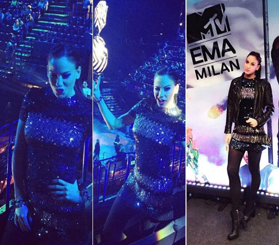 Vajna Tímea az MTV Europe Music Awards díjkiosztóján egy csillogó, arany-fekete ruhában jelent meg, ami nagyon rövid volt.